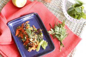 Mugwort salad eith mint and basil dressing